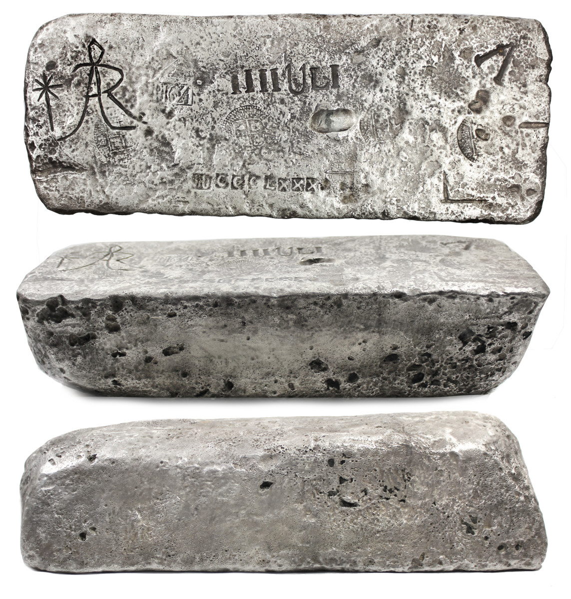 A high-grade silver bar weighing 92 troy pounds, 3.84 troy ounces sold for $57,715.
