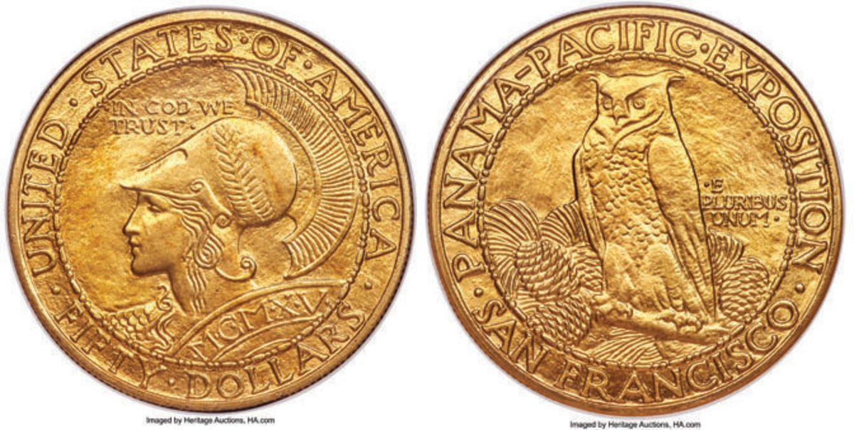 $96,000 was the price tag for this 1915-S Panama-Pacific round $50, graded MS-64 by NGC.