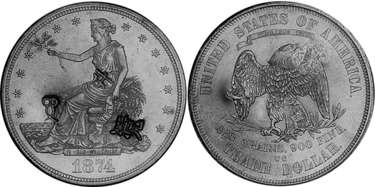 A chopmarked 1874-S Trade dollar.