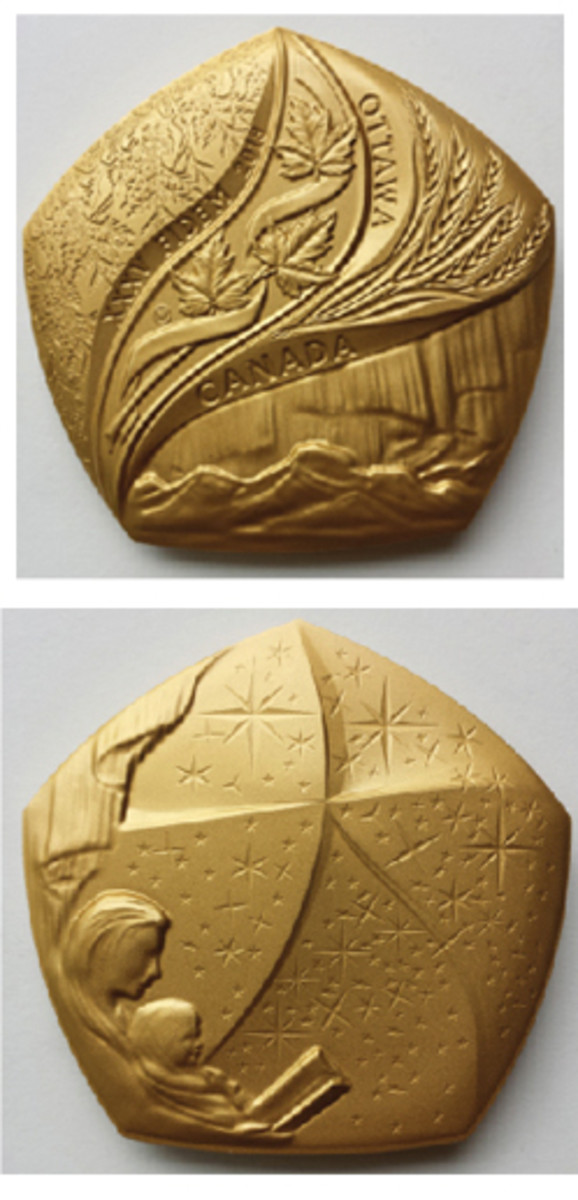 The official FIDEM 2018 Congress Medal. Noted engraver Susan Taylor, recently retired senior engraver of the Royal Canadian Mint, created the five-sided medal. (Photos courtesy of author)