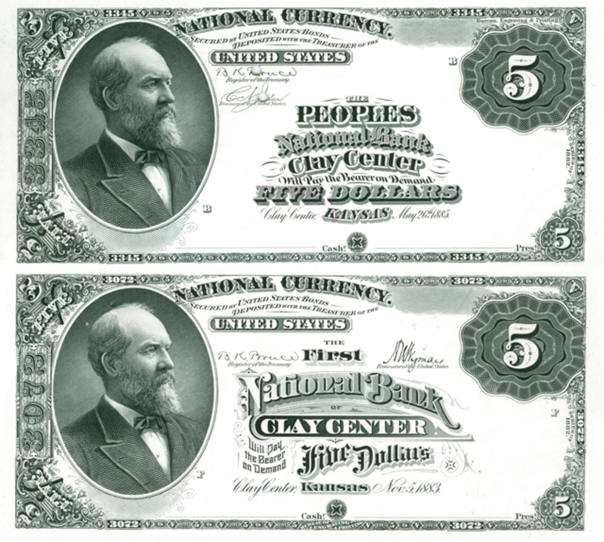 The Peoples National Bank of Clay Center, chartered in 1885 two years after The First National Bank, received $5 Brown Backs with lettering in the title blocks that was mostly borrowed from Original Series engraved dies. The officers of the bank found these notes to be distinctly inferior to the new circus posters being sent to The First National Bank, so they complained in 1888. F.H. Head was in on the organization of the bank and was now its cashier. The First National Bank of Clay Center received a spectacular circus poster layout when its patented lettered plate was purged and replaced by the Bureau of Engraving and Printing in 1887.