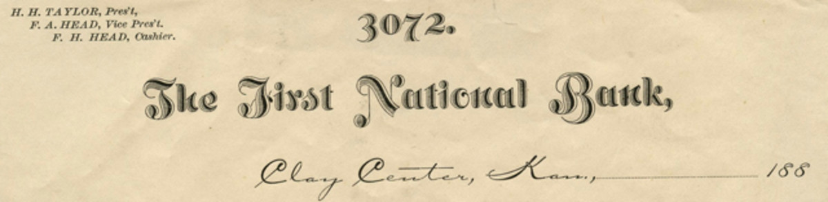Masthead from The First National Bank of Clay Center that accompanied the Clay Center and Washington notes in the frame that held them.