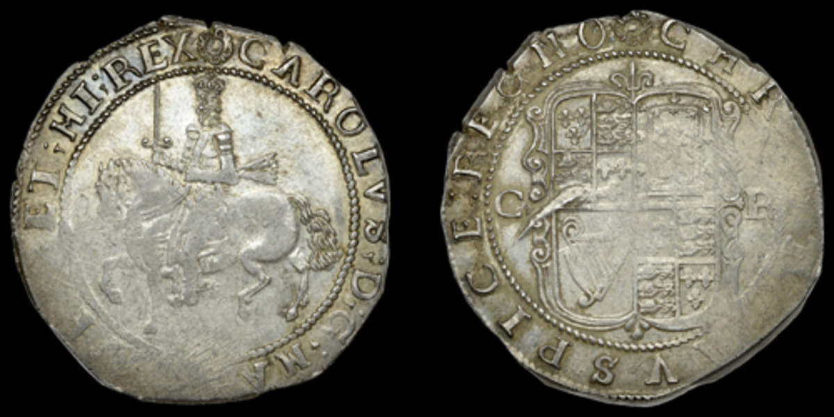 Typical Truro mint halfcrown of Charles struck on an uneven flan resulting in parts of the design appearing quite flat. More or less as struck, it took $12,221 in aEF. (Images courtesy DNW)