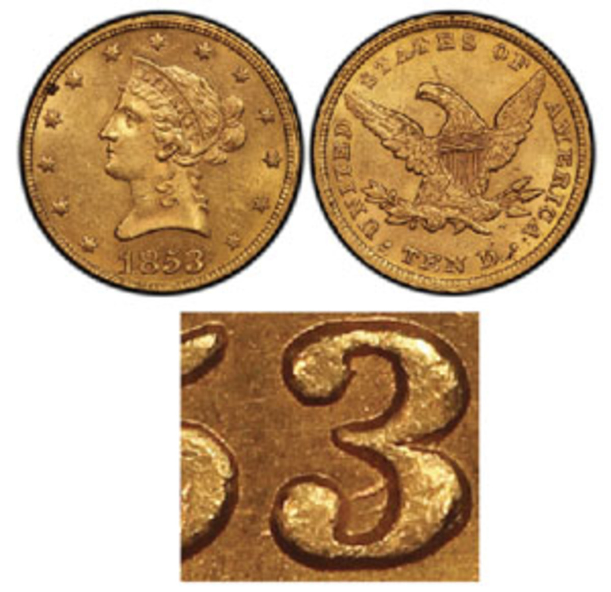 If this 1853 gold $10 were yours, would you have spotted the overdate shown?