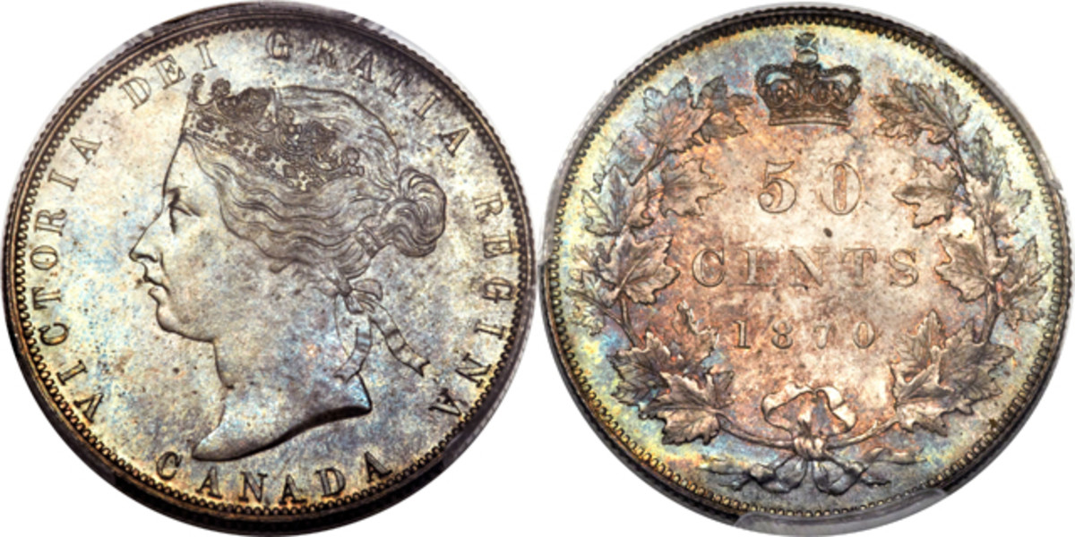 Lot 29581: A PCGS-graded MS-64+ 1870 Queen Victoria No LCW Canadian half dollar. Estimate: $40,000 - $50,000.