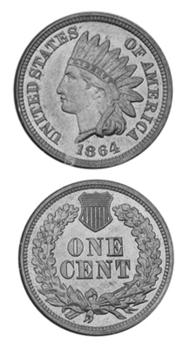 A composition change from copper-nickel to bronze, plus a pointed bust variety of the latter that includes the designer's initial, resulted in three different Indian Head cents for the year 1864.