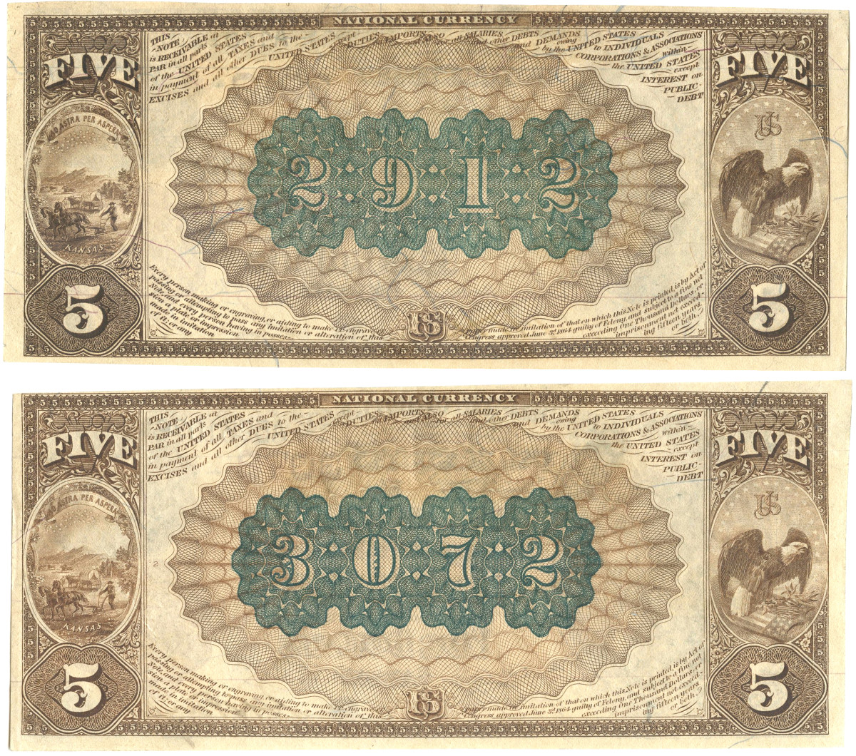 The reverses of the newly discovered notes.