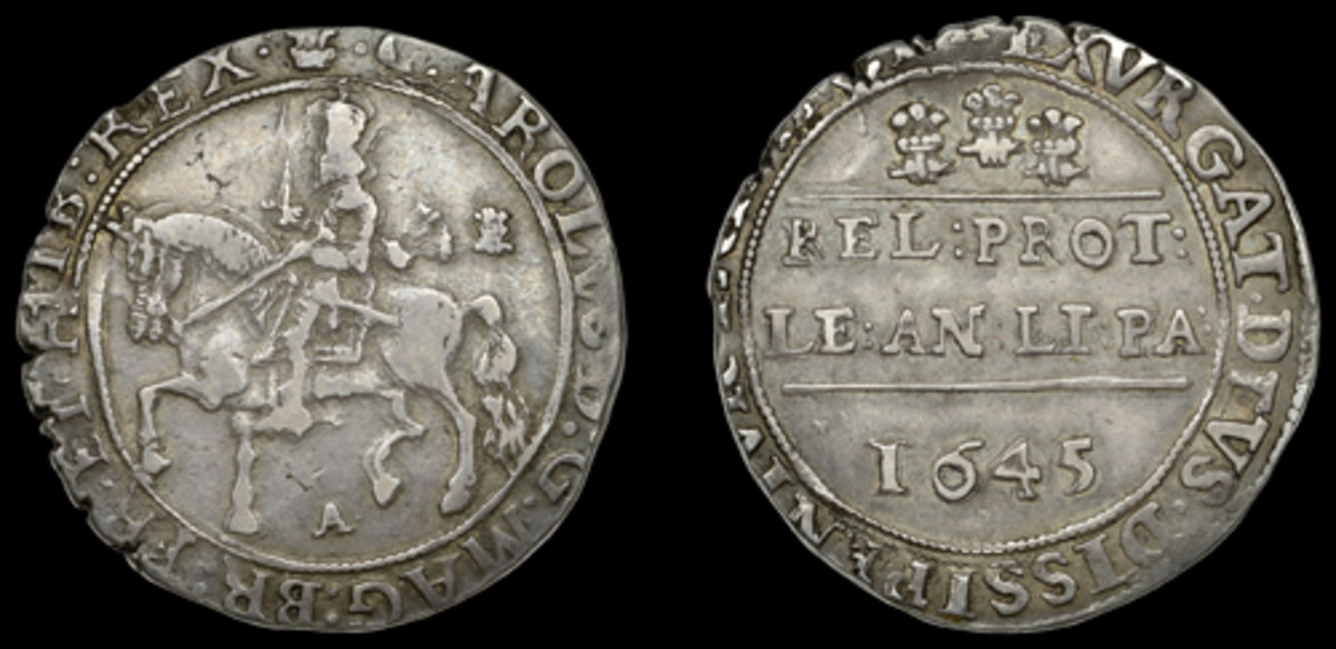 "Extremely rare 1645 halfcrown of Charles I from the Ashby de la Zouch mint (small plume behind monarch, ""A"" below, S-3030). Graded VF, it sold over upper estimate for $21,385. (Images courtesy DNW)"
