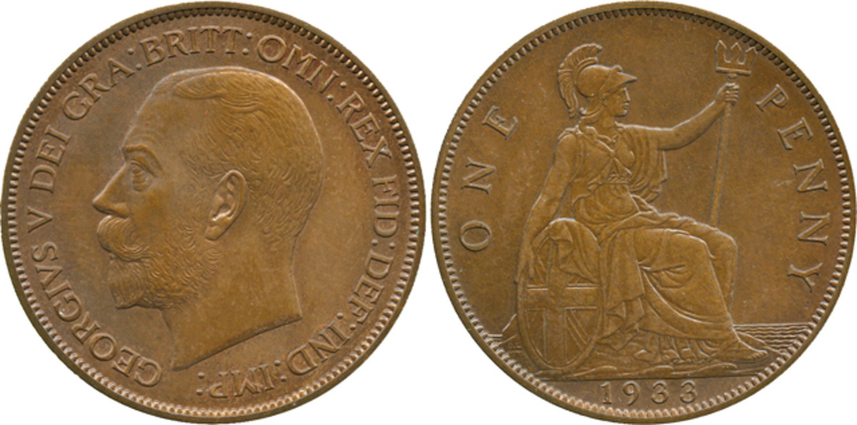 """The Lavrillier pattern 1933 British penny that fetched $104,126 in May. The initials """"A.L"""" appear on the truncation of the king's neck alongside those of Bertram Mackennal, """"B.M"""", the official mint engraver at this time. Image courtesy Baldwin's."""
