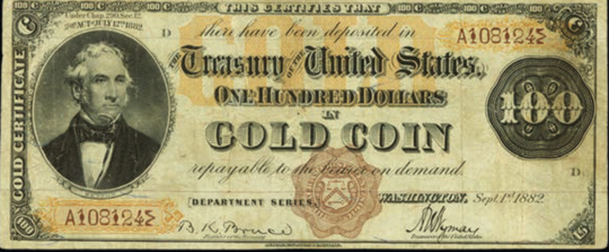 """This rare 1882 $100 Gold Certificate brought $470,000 in Stack's Bowers auction at the """"World's Fair of Money."""""""