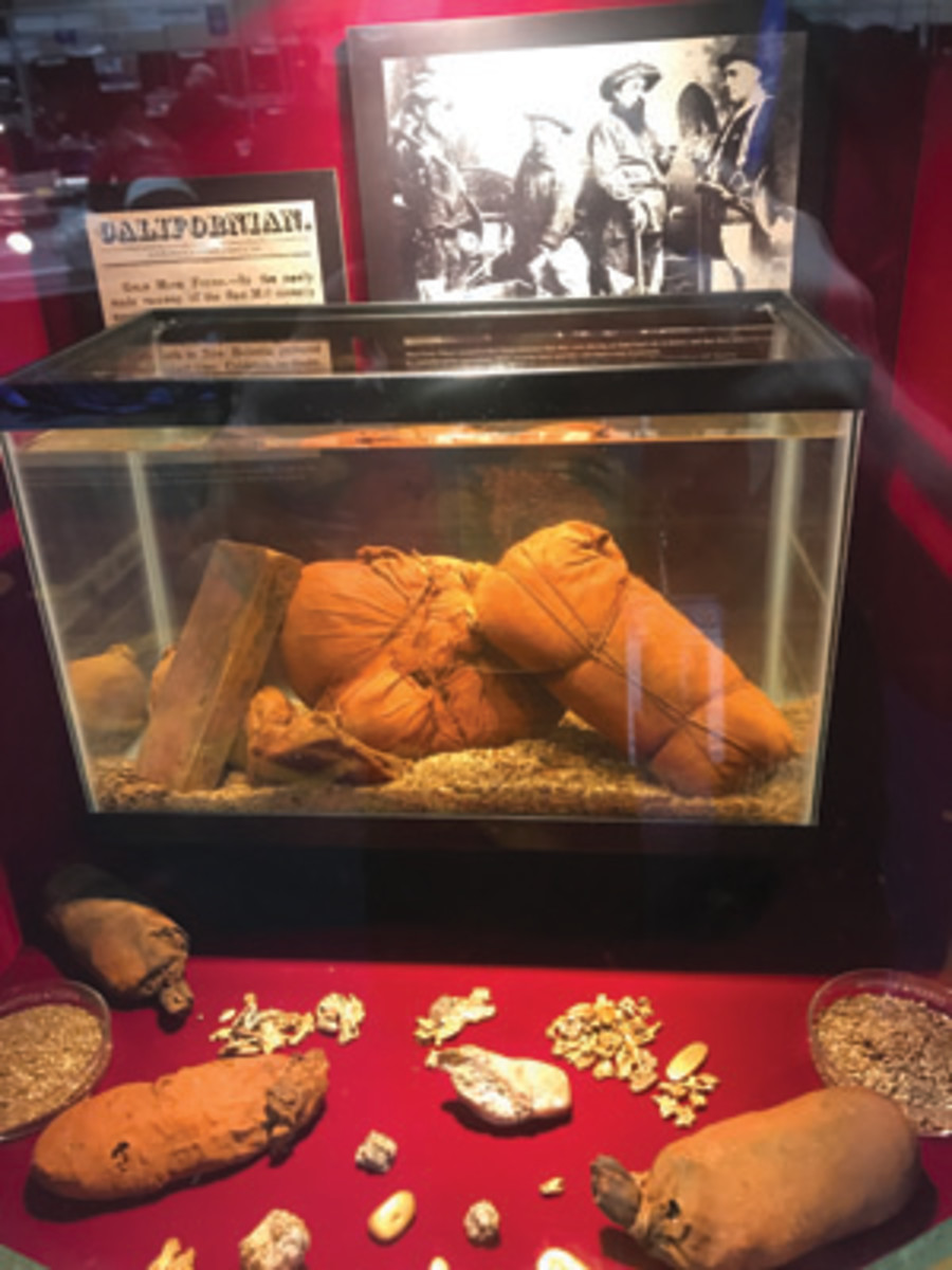 Highlights of the Ship of Gold exhibit included miners' pokes, unopened since 1857, and displayed here on a bed of gold dust along with an assayer's ingot and assorted gold nuggets. (Photo courtesy of Dwight Manley)
