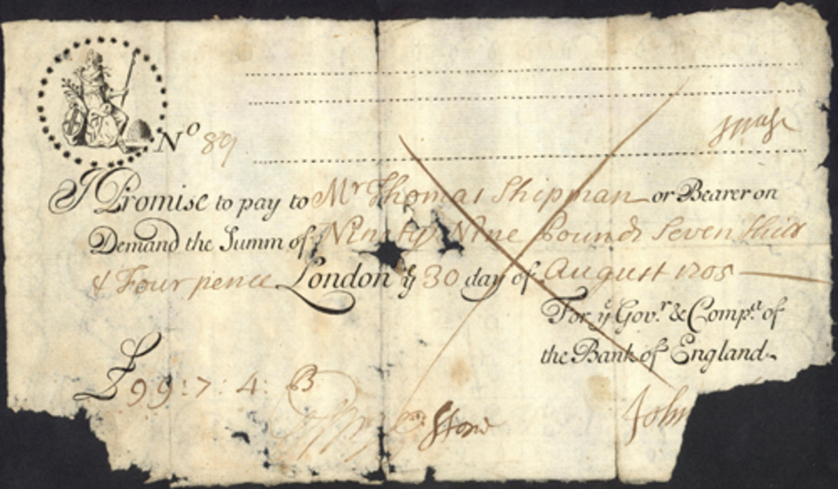 Running Bank of England cash note for 99 pounds seven shillings and four pence dated Aug. 30,1705. Image courtesy and © Spink London.