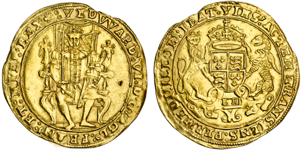 Rare second period Edward VI sovereign in superior gVF took  $58,680. The supporters for Edward's coat of arms are a dragon from his grandfather Henry VII and a lion bequeathed by his father, Henry VIII.