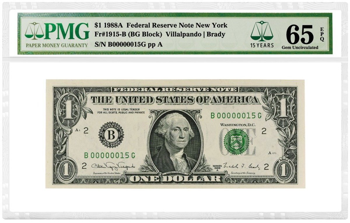 Modern U.S. bank note with PMG's 15th anniversary label.