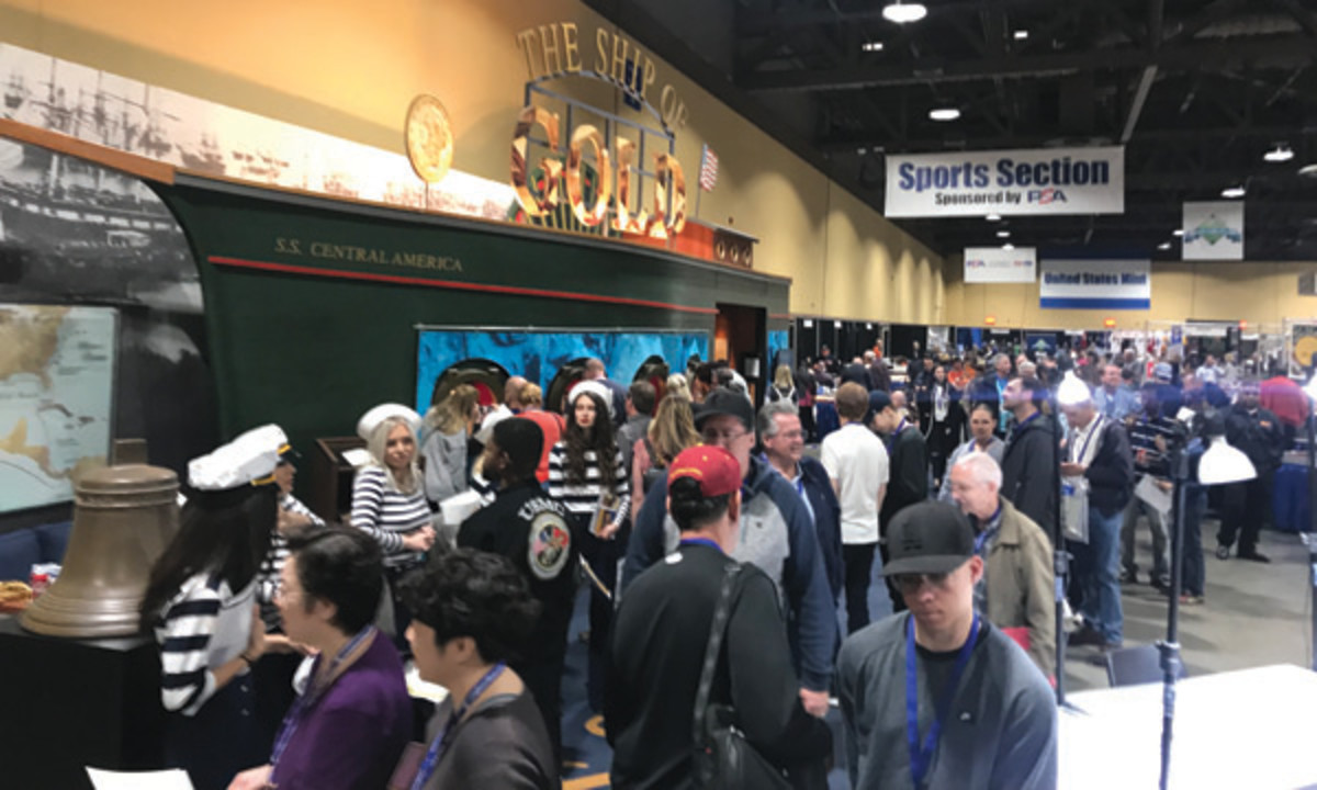 """A record crowd attended the February 2018 Long Beach Expo to see $40 million of recovered sunken treasure in the """"Ship of Gold"""" exhibit. (Photo courtesy of Dwight Manley.)"""