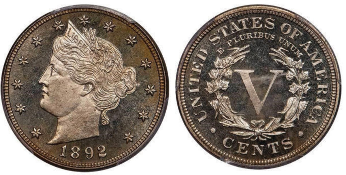 The Meridian Collection of proof Liberty nickels was of great interest to bidders. This 1892, graded PCGS/CAC PR-67+ CAM, brought $18,213.