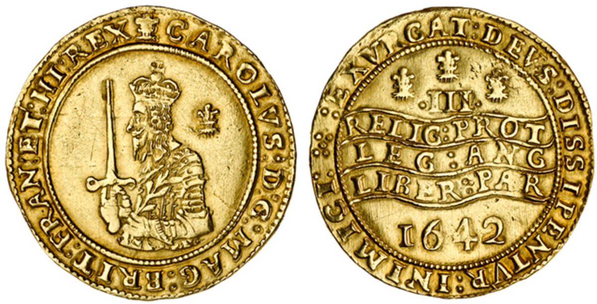 Charles I scored the highest price of the day of $88,020 [£54,000] for one of the two distinctly different triple unite varieties of this monarch. That price went to an example showing a superior bust of the King but with some doubling on the obverse.