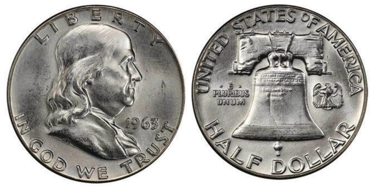 Smashing its estimate of $20,000-$22,000, this 1963 Franklin half dollar, graded MS-66+ FBL, exchanged hands for 85,188.