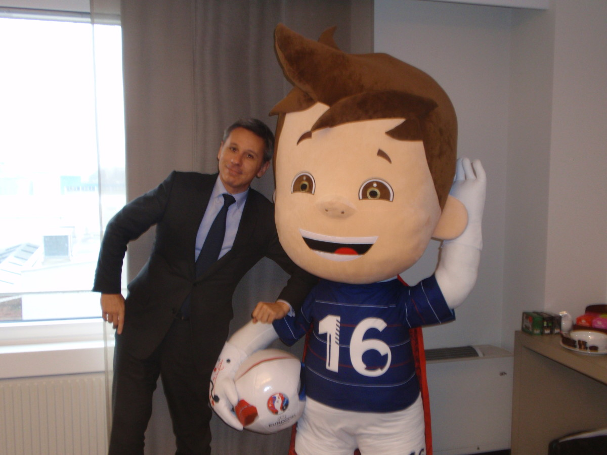 Christophe Beaux, CEO, of the Monnaie de Paris is shown here with the official mascot of Euro 2016 soccer games to be held in France this summer.