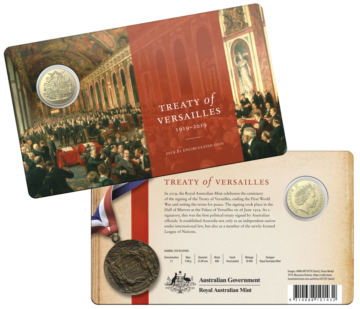 Centenary of the Treaty of Versailles - 2019 $1 Uncirculated Coin - Packaging