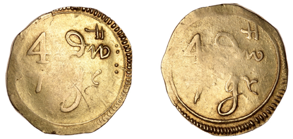 Theo Bullmore's extremely rare and historically important gold Irish pistole that will be the top attraction in Dix Noonan Webb's three day world coin sale in September. Image courtesy Dix Noonan Webb.