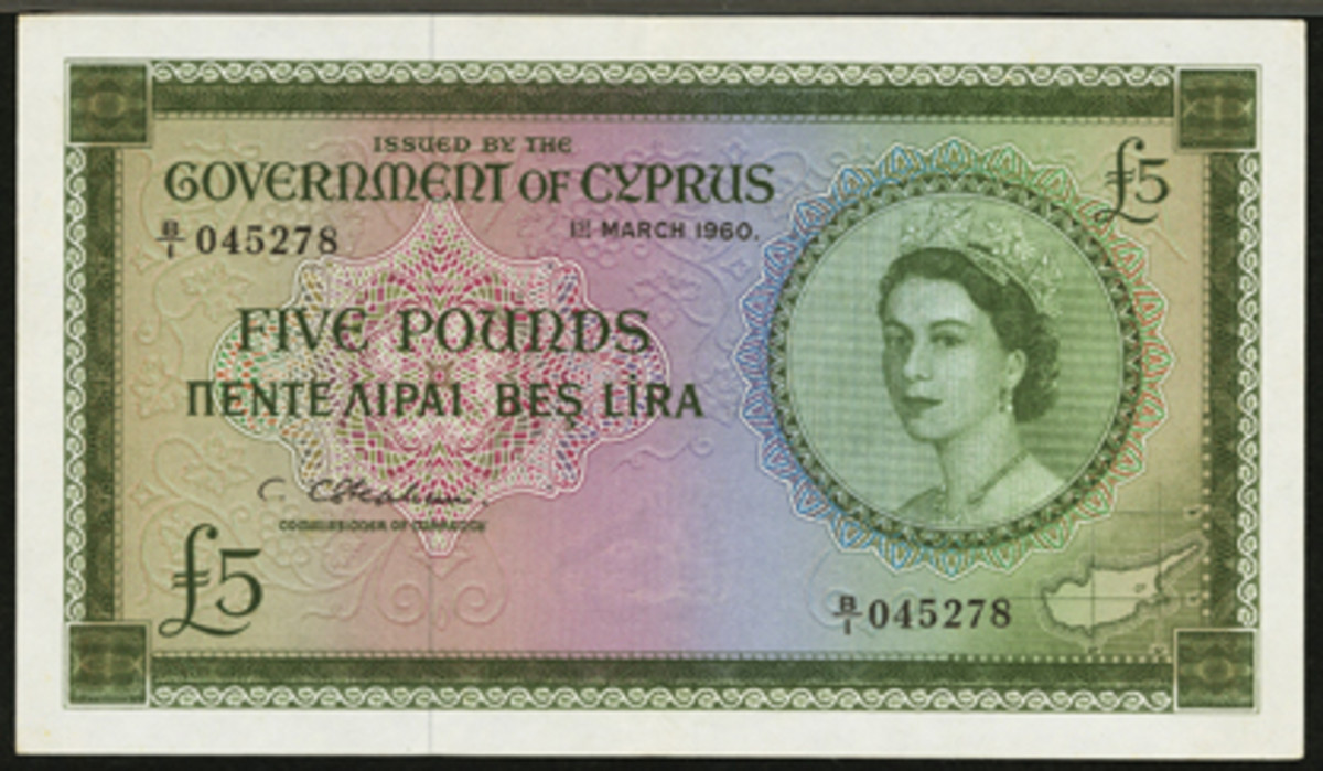Top-priced Cypriot issue: Queen Elizabeth £5 dated March 1, 1960, P-36a, ex-Major Pridmore Collection. In PMG About Uncirculated 55 it fetched $18,000.