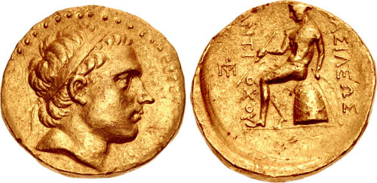 Unique gold oktadrachm of Antiochos III circa 197-192/0 B.C.E., Seleukid Empire. Sold in September for $77,350 in VF by Classical Numismatic Group. (Image courtesy www.cngcoins.com.)