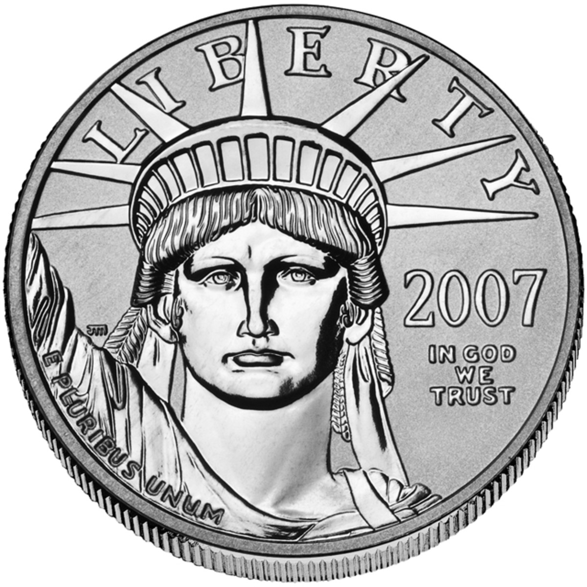 Obverse of the 2007-W reverse proof half-ounce platinum $50 American Eagle.