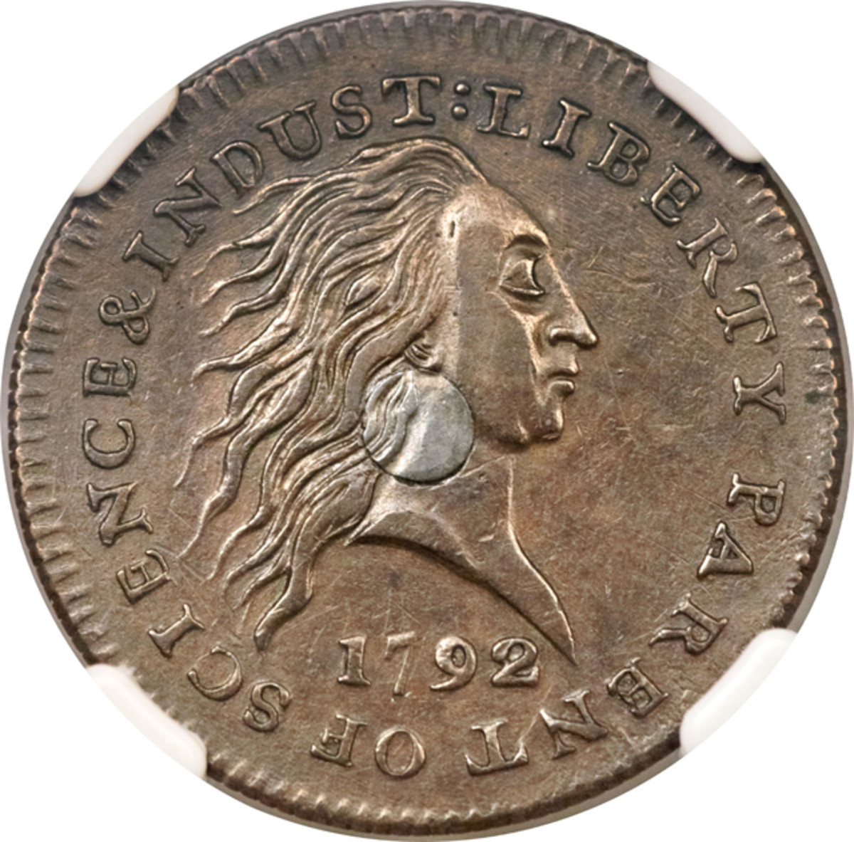 Obverse of the 1792 silver-center cent.