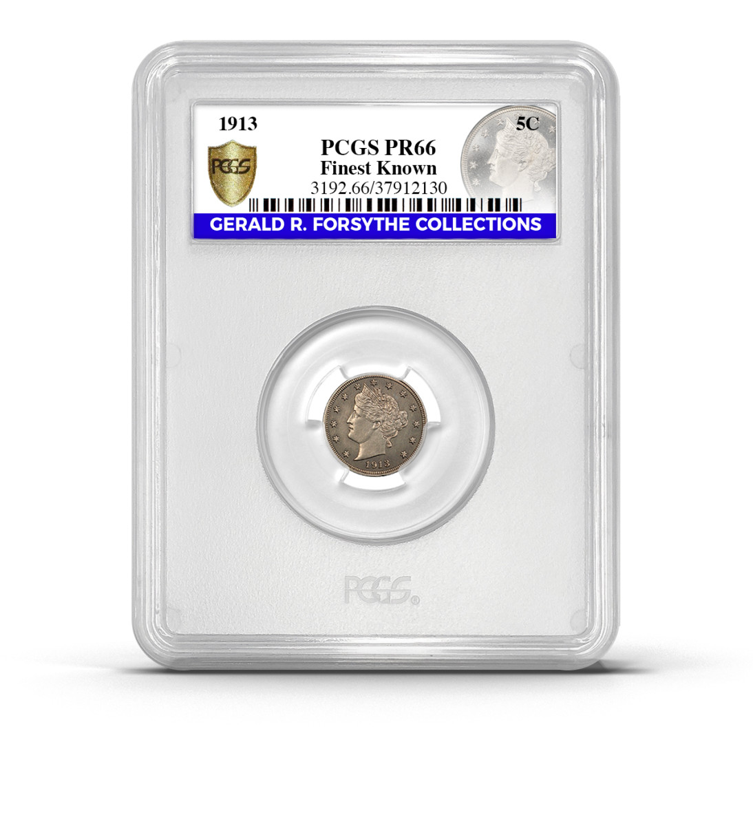 The finest known 1913 Liberty Head nickel is now in a PCGS Rarities holder with an exclusive, custom label for the Gerald R. Forsythe Collections. (Photo credit: PCGS.)