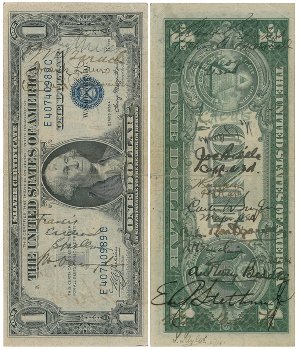 Face and back of World War II snorter bearing the signatures of both Truman and Stalin that was sold for $14,649.78 by RR Auction this past November. (Images courtesy RR Auction)