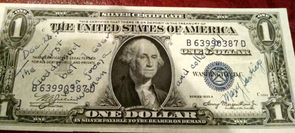 Fig. 6: The inscription on this 1935 $1 Silver Certificate also represents another winning wager between two betters, dating to 1945.
