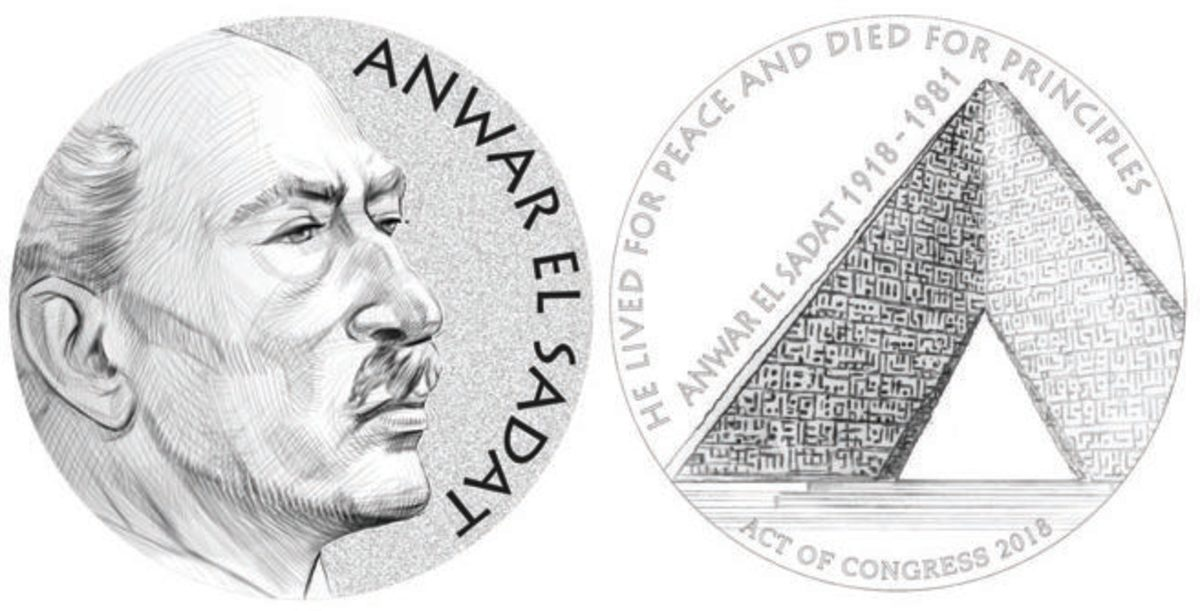 The obverse and reverse of the chosen design for the Anwar El Sadat Congressional Gold Medal. (Images courtesy of the U.S. Mint)