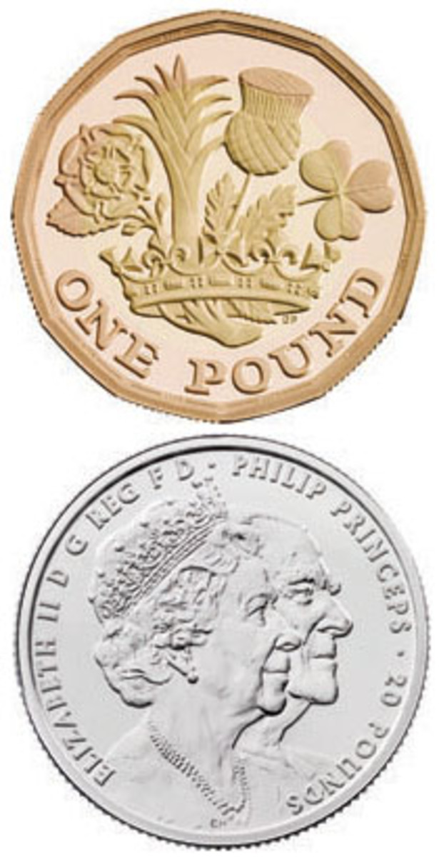 Two of the 2017 coins subjected to the Trial of the Pyx and now offered for sale by the British Royal Mint. At top, bimetallic 12-sided £1 gold proof reverse; at bottom, obverse platinum wedding £20 silver with conjoined portraits of Queen Elizabeth & Prince Philip. (Images courtesy & © The Royal Mint)