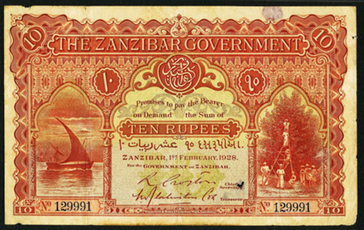 Record breaker: 1928 Zanzibar 10 rupees, P-3, that realized $72,000.