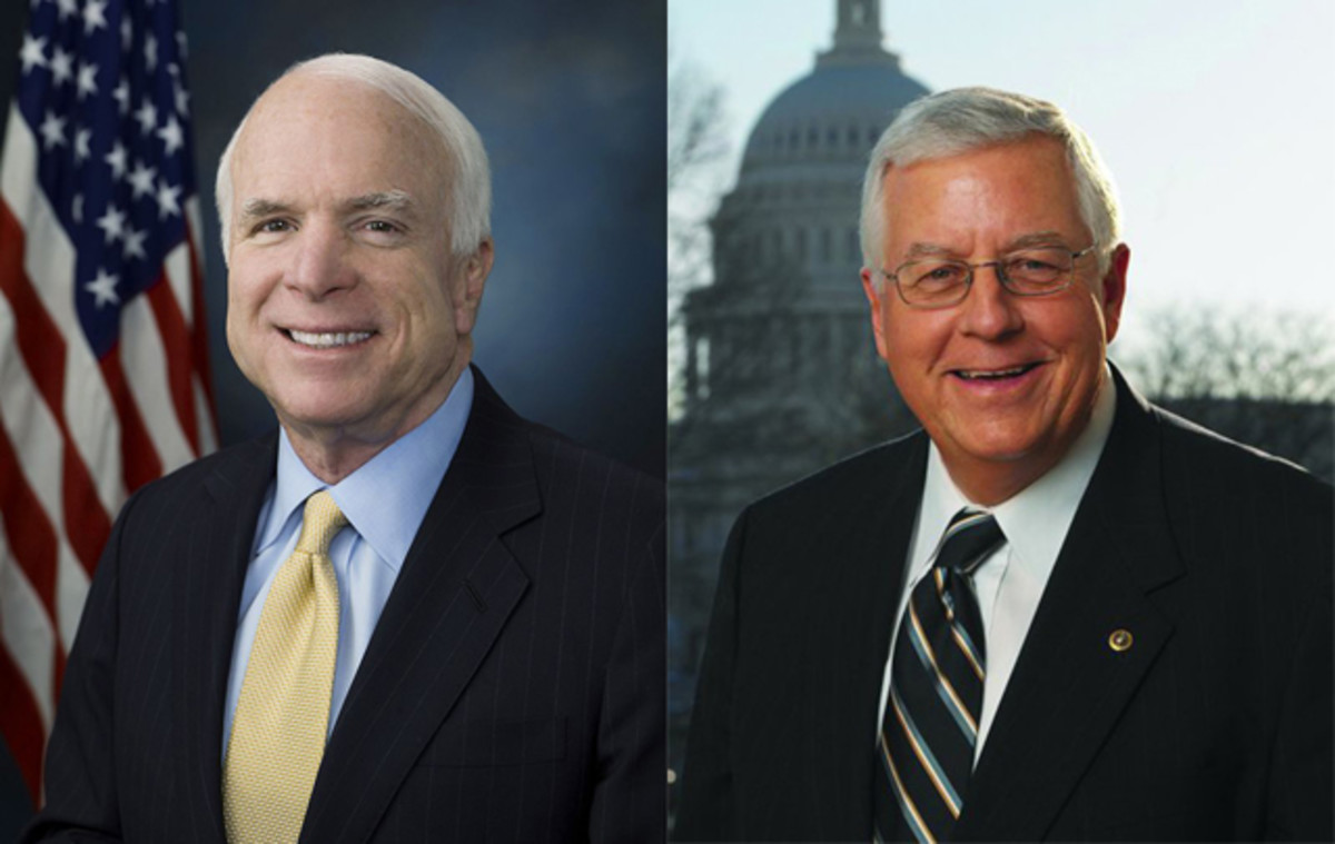 The bill is sponsored by Senators John McCain (R-AZ) (Left) and Mike Enzi (R-WY) (Right).