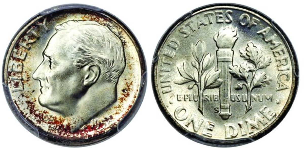 A 1950-S Roosevelt dime graded MS-68 by PCGS. (Images courtesy Heritage Auctions, www.HA.com)