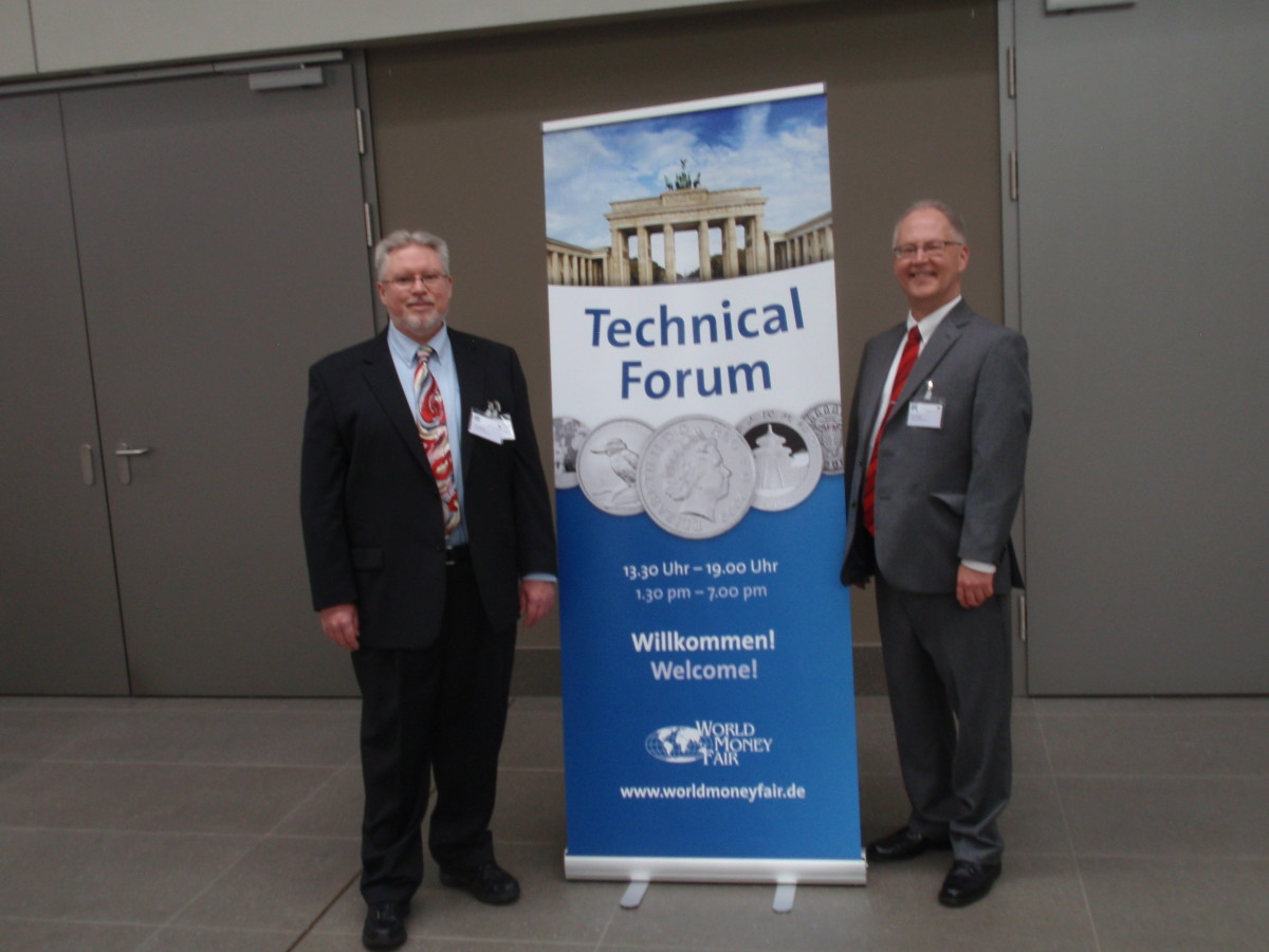 Dave Harper and Tom Michael at the entrance to the technical forum at the World Money Fair in Berlin.