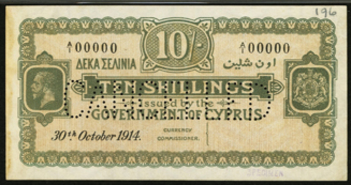 Scarce as hens' teeth: Cypriot 10 shillings specimen of Oct. 30, 1914, P-4s, that made $15,600.