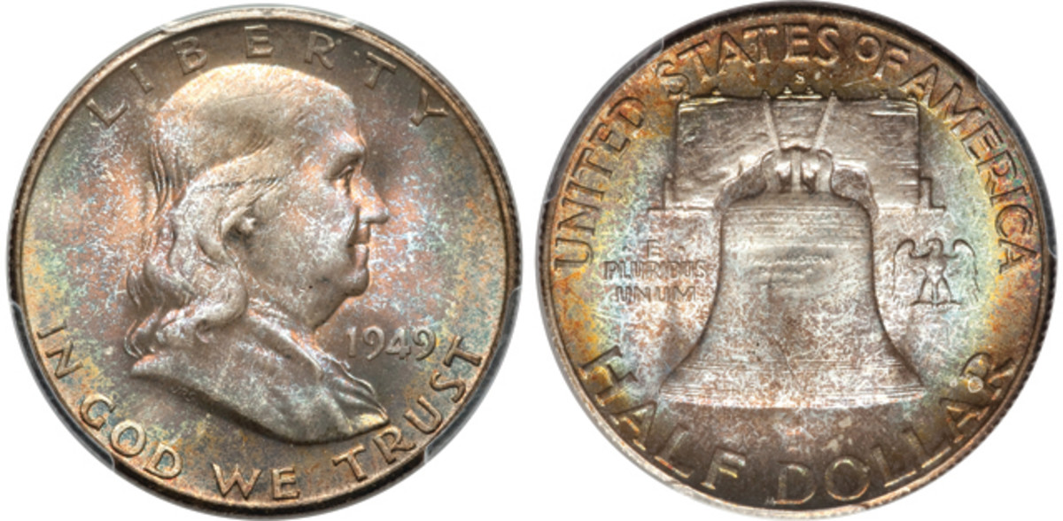 A 1949-S Franklin half dollar graded PCGS MS-67 with full bell lines. (Images courtesy Heritage Auctions)