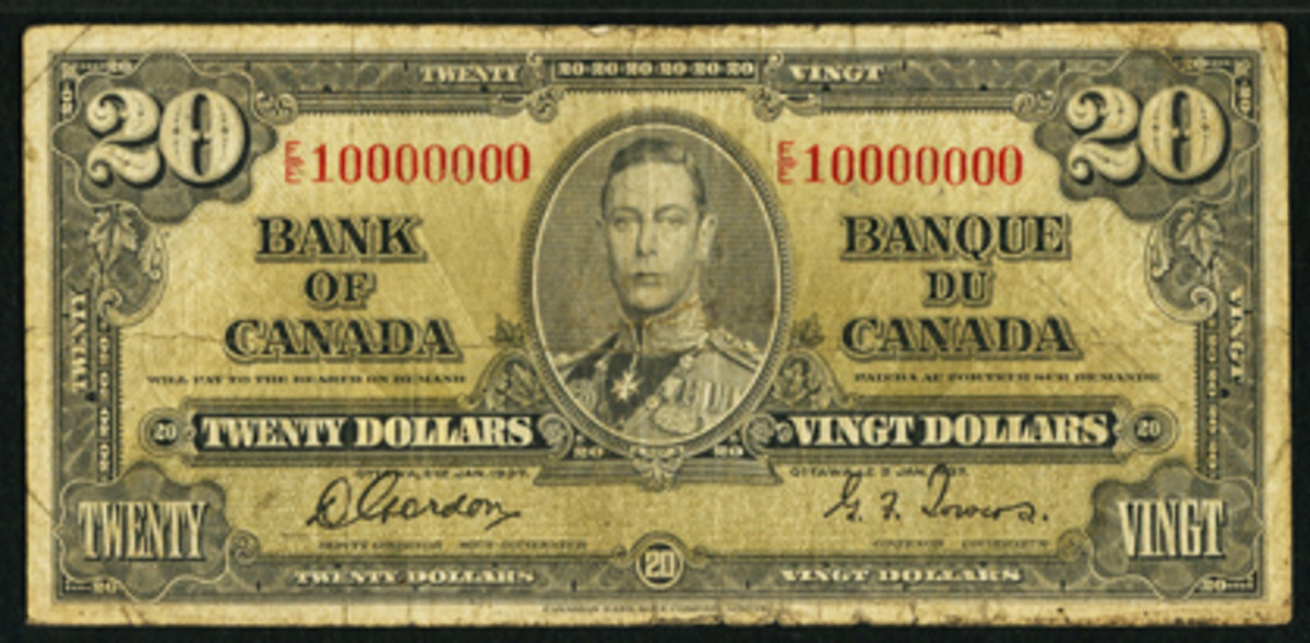 One in 10 million: Canadian King George VI $20 of $1937, P-62b. Despite its VF grade it managed $10,800 due to its 10000000 serial. A close inspection shows the final zero is slightly offset as a result of being added manually.