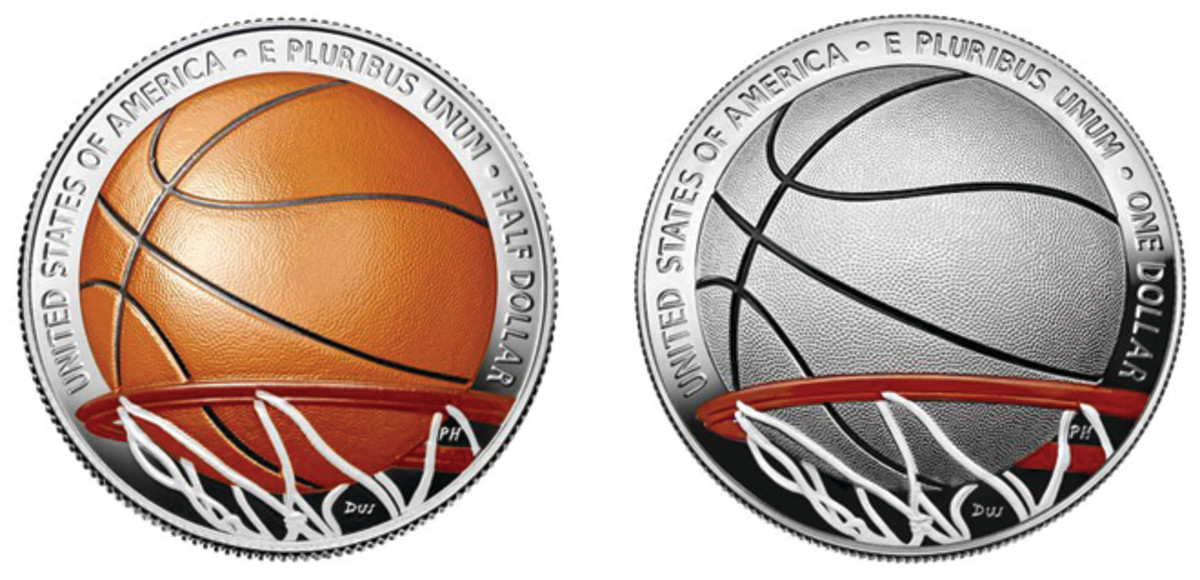 Aug. 28 marks a first for the U.S. Mint: the release of colorized coins. Available to collectors will be a 2020 colorized Basketball Hall of Fame silver dollar and a half dollar. (Images courtesy U.S. Mint.)
