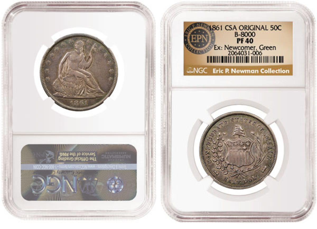 A record $960,000 was the winning bid for an 1861 Confederate half dollar graded PF-40 by Numismatic Guaranty Corporation in Heritage's Eric P. Newman Collection sale Part IX held Nov. 1.