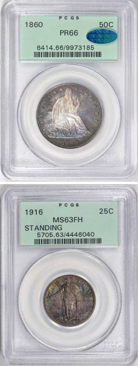 Three silver rarities were part of the Ruth Weinberg estate. The proof 1860 half dollar appreciated at half the rate of the 1916 Standing Liberty quarter. The half went up by more than more than six times purchase price while the quarter increased by nearly 15 times purchase price.