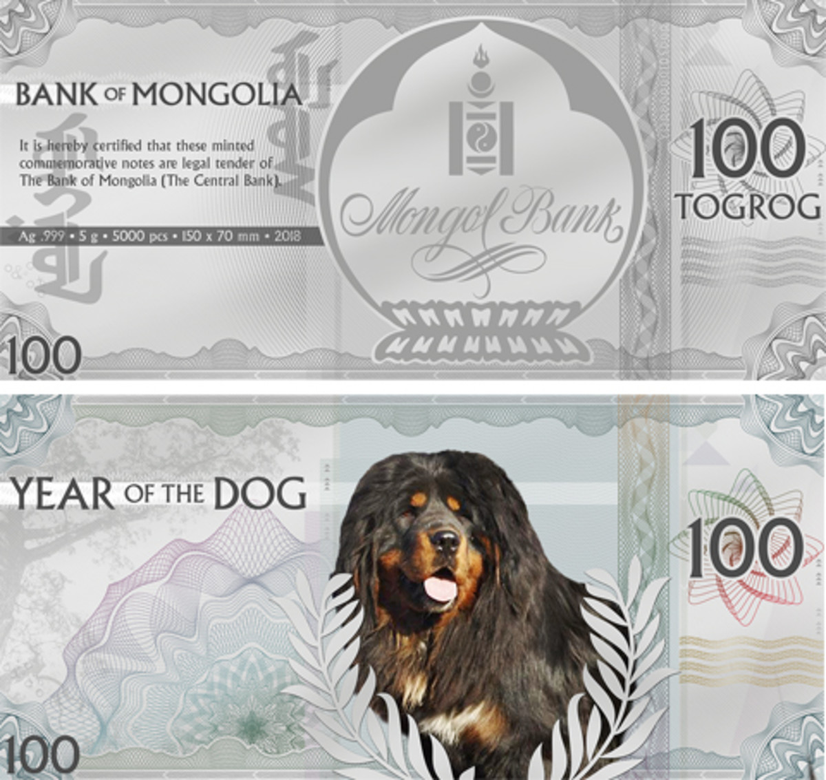 Mongolia's new 100 togrog note printed on silver foil that celebrates the Year of the Dog. (Images courtesy Coin Invest Trust)