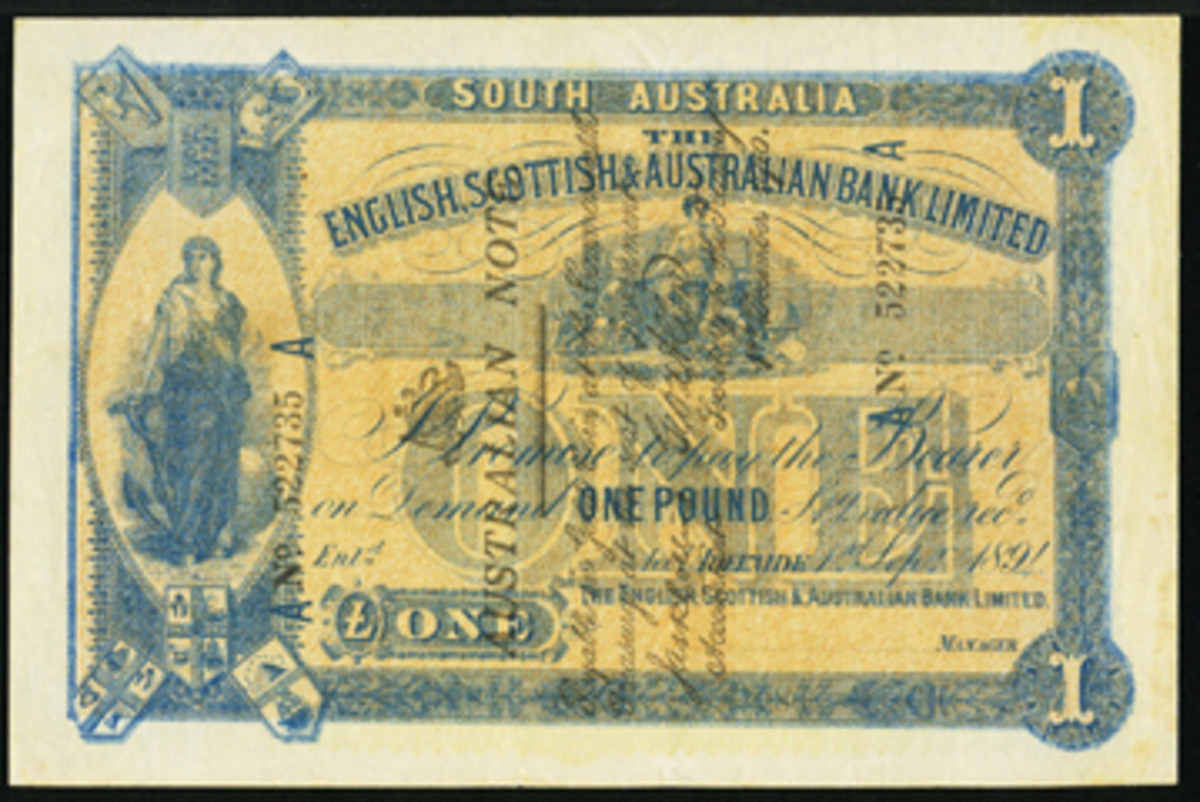 Arguably the finest-known example of an English, Scottish and Australian Bank £1 originally dated 1 September 1894 that was overprinted AUSTRALIA NOTE in the early days of WWI (P-1B; R-19; McD-32). In PMG Choice Extremely Fine 45, it will likely carry an estimate in the range of $80,000+. (Image courtesy www.ha.com)