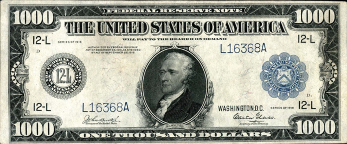 1918 $1,000 Federal Reserve Note, San Francisco, Fr. 1133-L PCGS Abt. New 50 Apparent, $23,000.