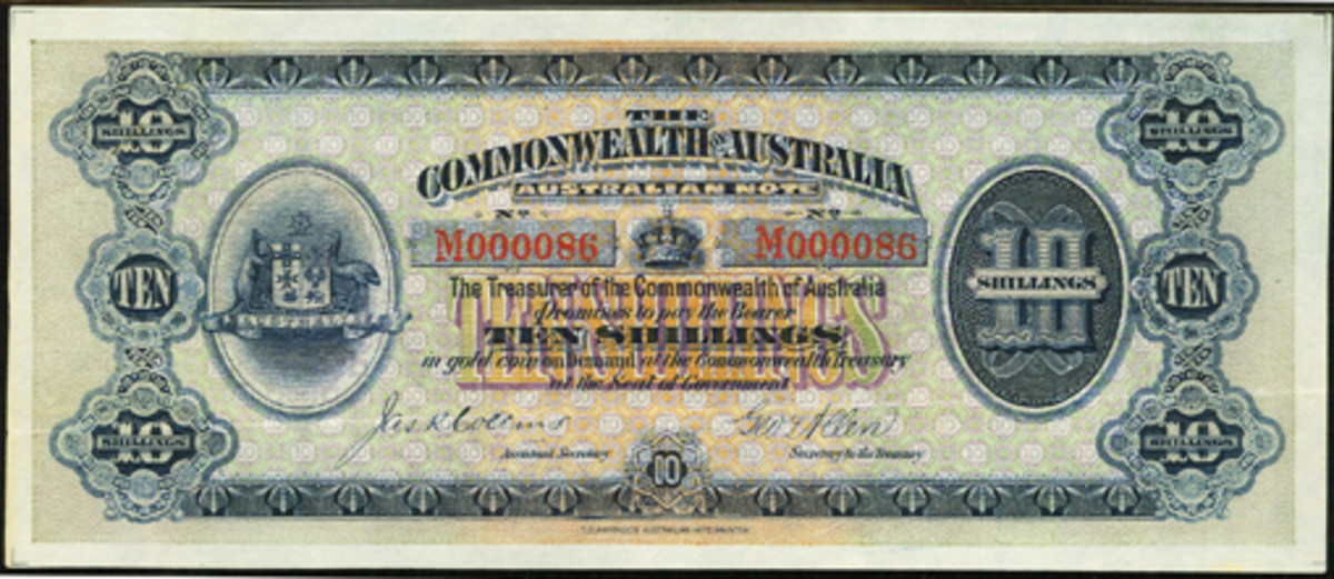 Presentation example with red serial number of Australia's first 10 shillings note (P-1Ac; R-1a; McD-2). It is to be offered in Heritage Auctions' September Long Beach sale of the Drs. Joanne and Edward Dauer collection with a likely estimate of $150,000. (Image courtesy www.ha.com)