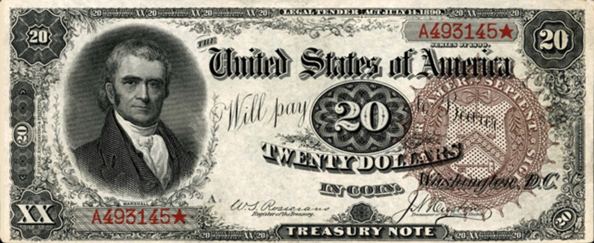 Bringing a hammer price of $25,000 was this 1890 $20 Treasury Note.