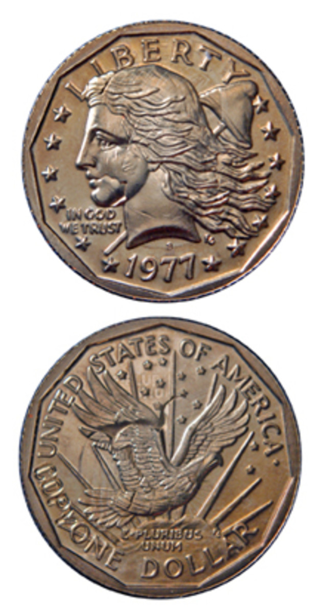 Special privately produced dies were used to strike the Gasparro Flowing Hair design of 1977 over genuine Anthony dollar coins. They are being sold by Ken Potter.